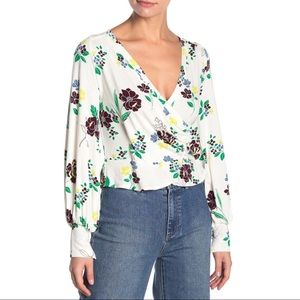 FREE PEOPLE Saturday Night Faux Wrap Top Floral